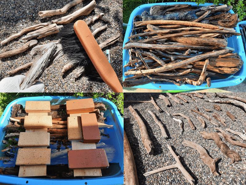 流木-アク抜き方法-重曹水-水浸処理手順