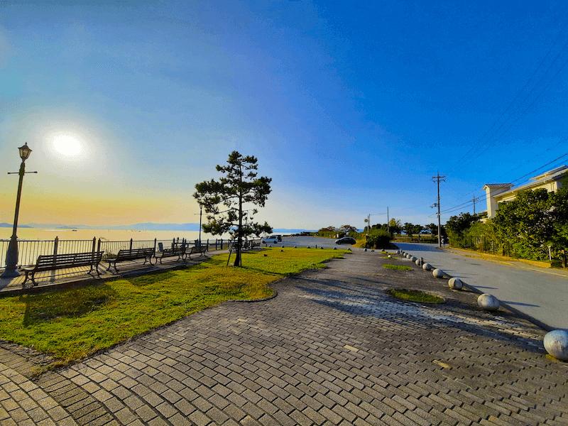 滋賀県-琵琶湖-景色-レイクビュー-カフェ-たねや-クラブハリエ-clubharie-琵琶湖の景色-湖岸