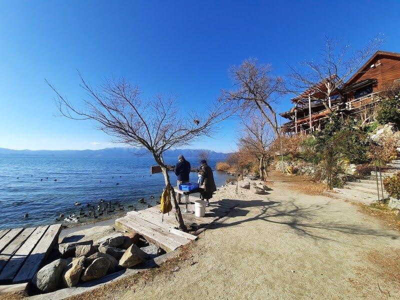 滋賀県-カフェ-琵琶湖-周辺-景色-湖岸-シャーレ水ヶ浜-cafe-chalet-琵琶湖景色-絶景-砂浜